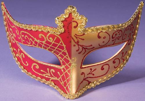 Masque pour les yeux avec le ruban d'or / rouge