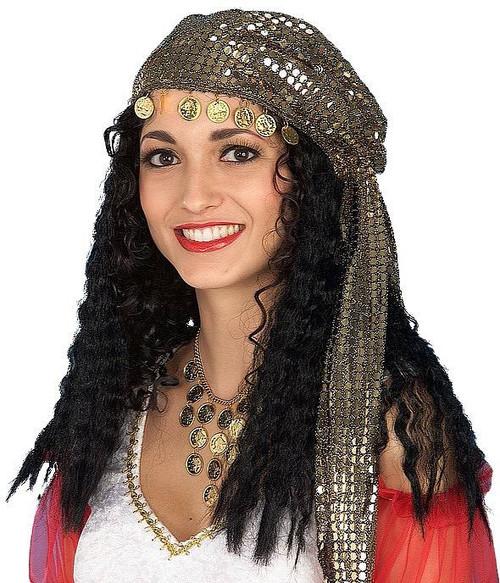 noir Gypsy perruque avec écharpe