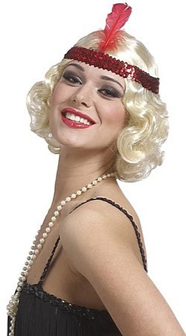 Perruque Bouclée Blonde de Garçonne des Années 20 avec Bandeau