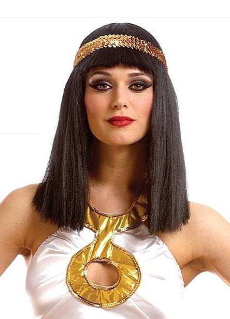 Perruque Noire de Cléopâtre avec Bandeau