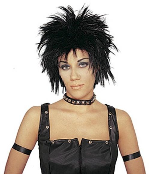 Rocker courte perruque noire unisexe