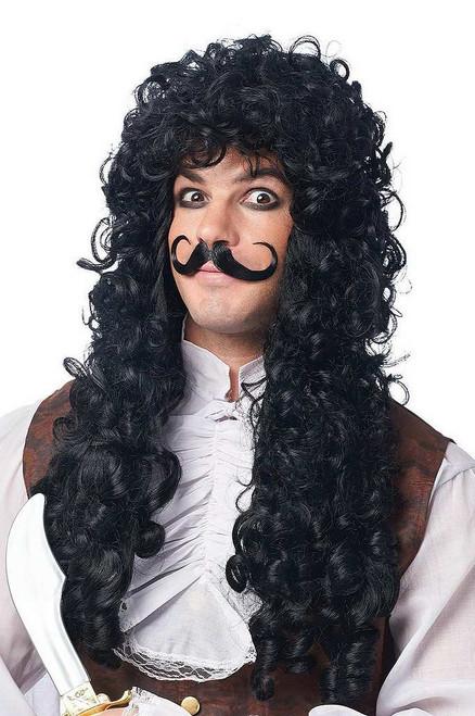 Capitaine Crochet perruque noire / Mustache