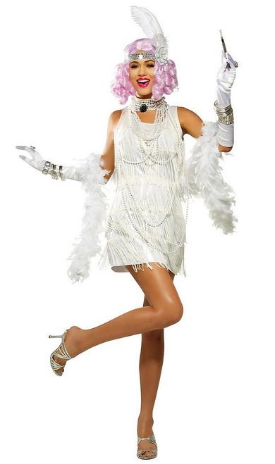 Costume Blanc Métallique de Garçonne des Années 20