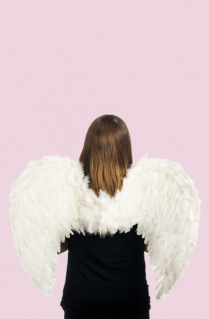 """31"""" White Feather Angel Wings"""