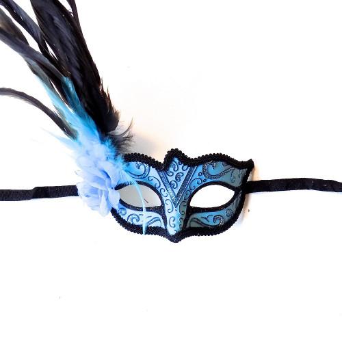 Bleu clair Masque vénitien avec la fleur