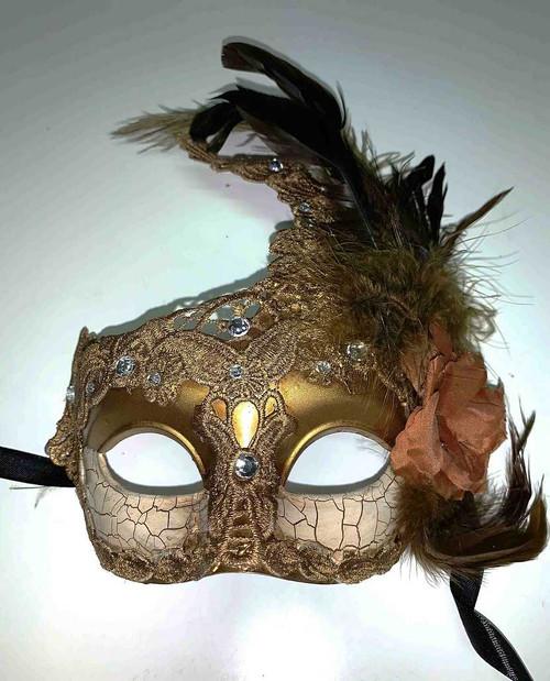 Masque vénitien avec Brown fleurs et plumes