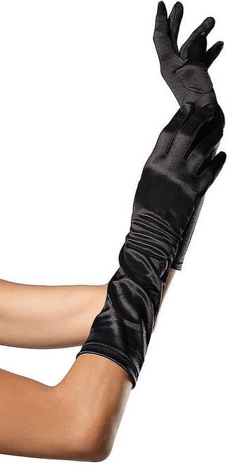 Satin coude Longueur Gant Noir