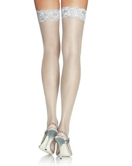 Hauts de Cuisses blancs Transparents avec dentelle