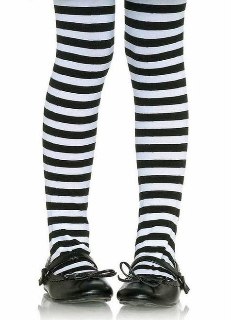 collants rayés noir et blanc pour filles