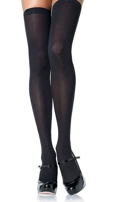 Hauts de Cuisse en Nylon Opaque Noir Grandeur Plus
