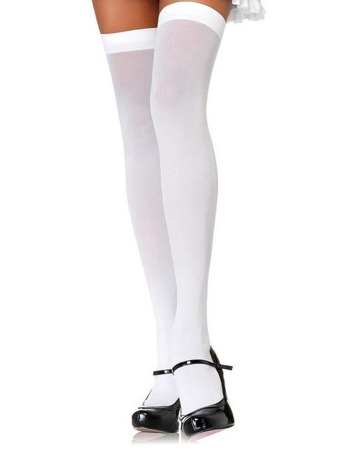 Hauts de Cuisse en Nylon Opaque Blanc Grandeur Plus