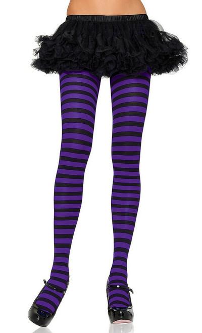 Collants en Nylon à Rayures Noires/Violettes