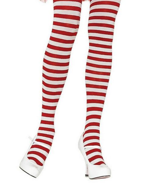Collants en Nylon à Rayures Blanches/Rouges pour femmes