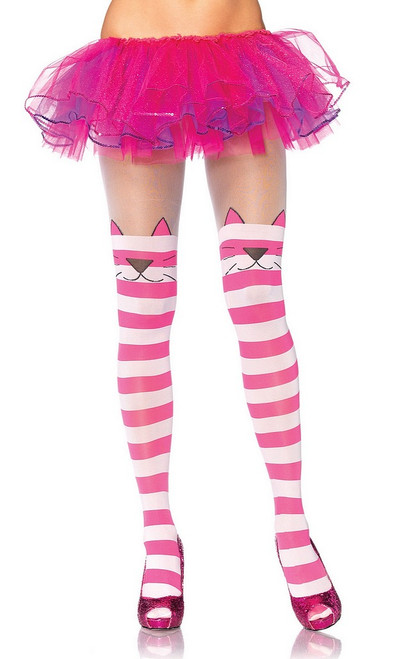 Cheshire Cat rayé Collants