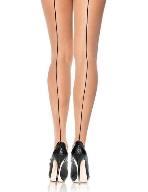 Collants Nus Translucides à Couture Arrière