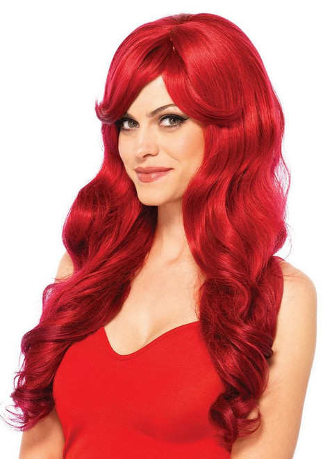 Long wavy perruque rouge