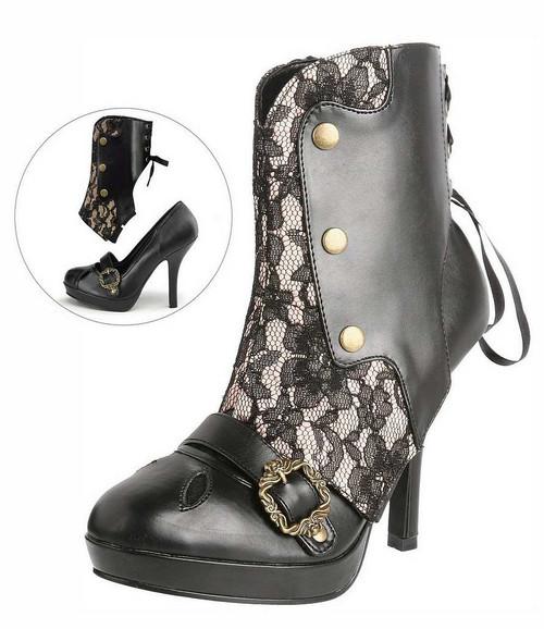 Chaussures Victoriennes Noires avec Lacet pour Femmes