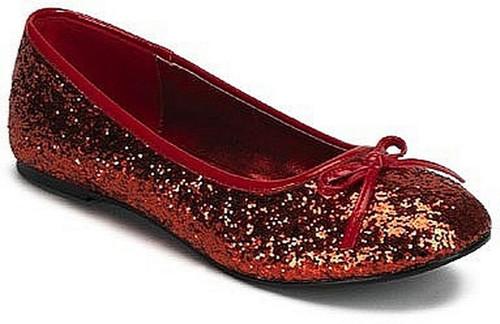 Chaussures Rouge Glitter plat étoile