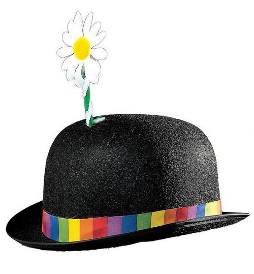 Noir Chapeau de clown avec des fleurs