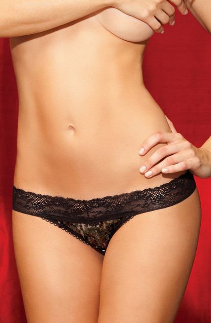 Montrez Sequin Thong Noir