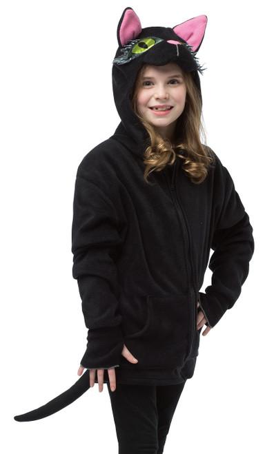 Costume Pull-Over à Capuche de chatte noire pour enfant