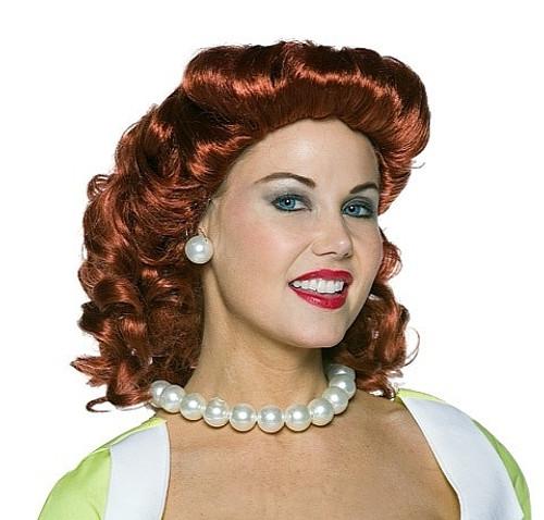Vintage Femme au foyer perruque rouge