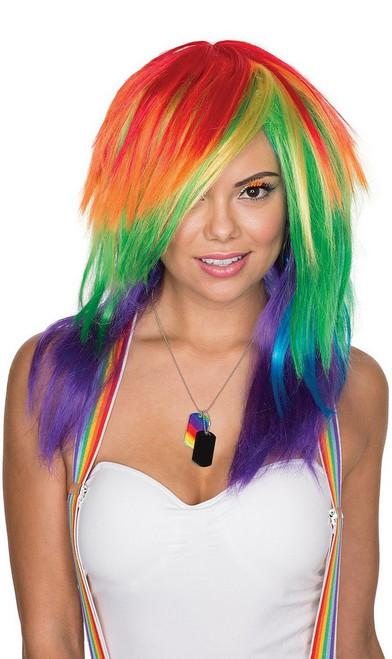 Célébration perruque multicolore