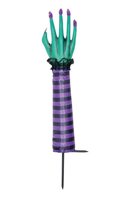 Sorcière bâton à la main citrouille Décor violet