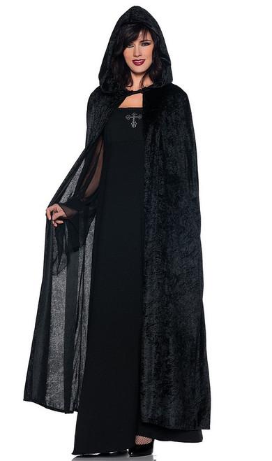Longue cape en velours noir