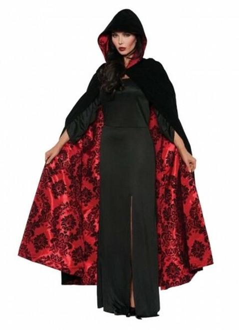 Cape noire et rouge en velours et satin
