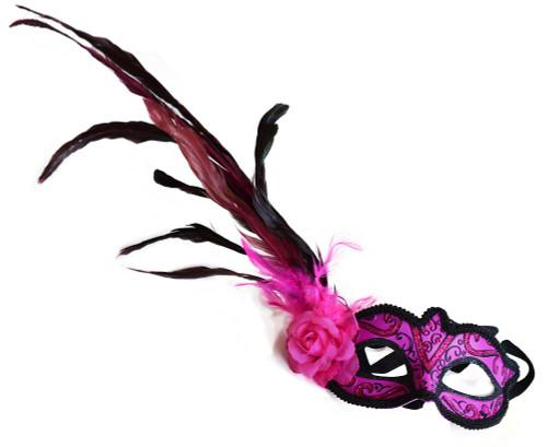 Masque vénitien avec fleur rose