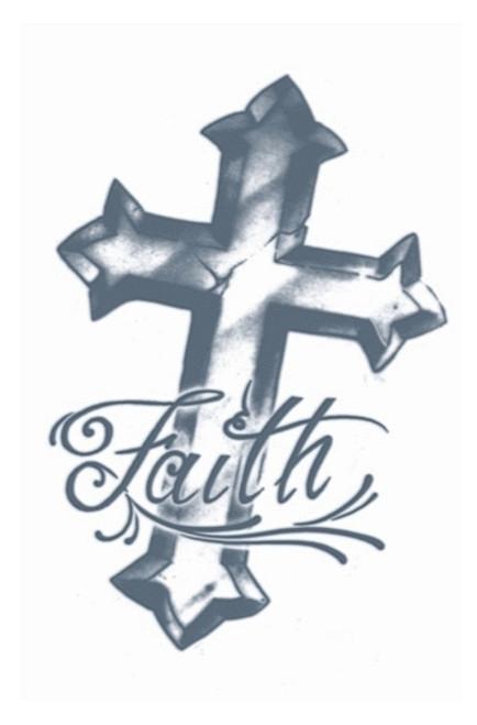 Faith Cross Transfert Tattoo
