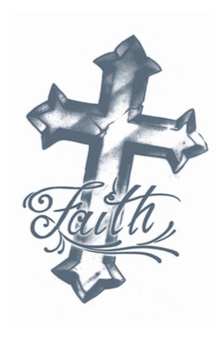 Faith Cross Transfert Tattoo