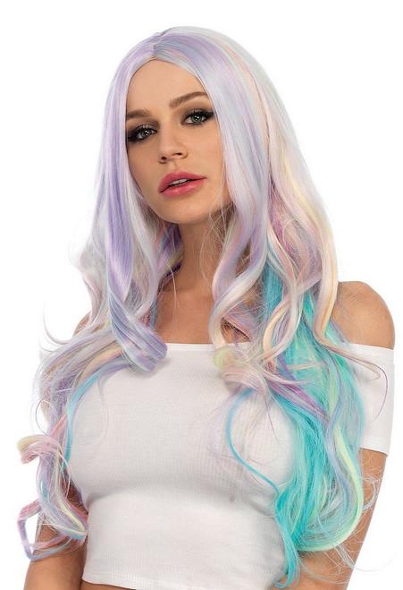 Longue Perruque Bouclée Pastel Arc-en-Ciel
