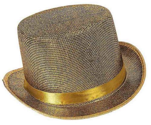 Chapeau haut de forme en maillage doré