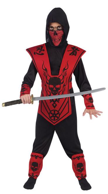 Costume de Seigneur Ninja Crane Noir et Rouge