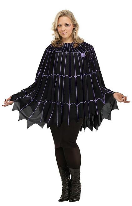 Poncho Toile d'Araignée Noir et Violet Grande Taille