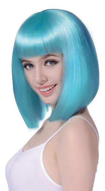 Perruque Bob Mi-Long Turquoise