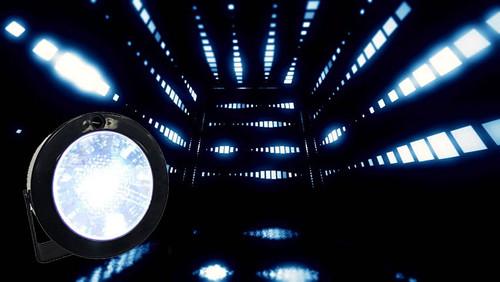Mini LED ronde Strobe - avec son et avec détecteur de mouvement - à piles (non inclus)