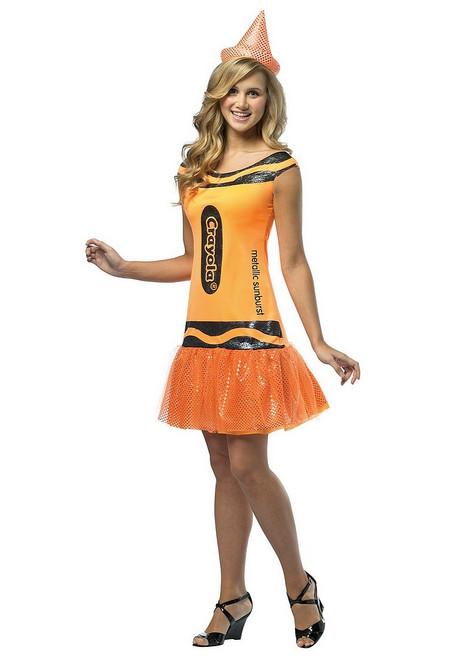 Robe à Paillettes Orange Scintillante de Crayola