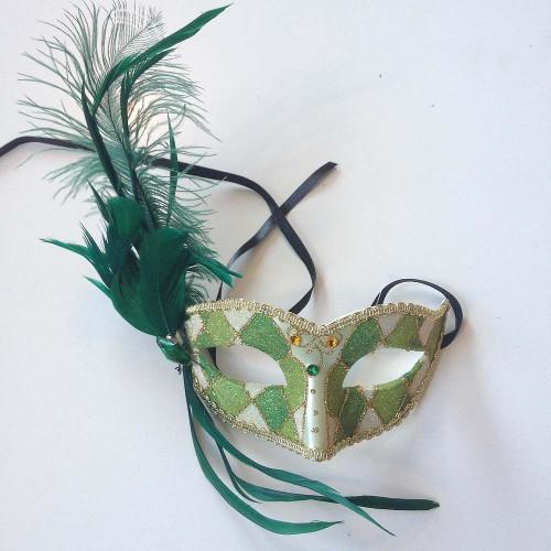 Masque vert vénitien Feathered