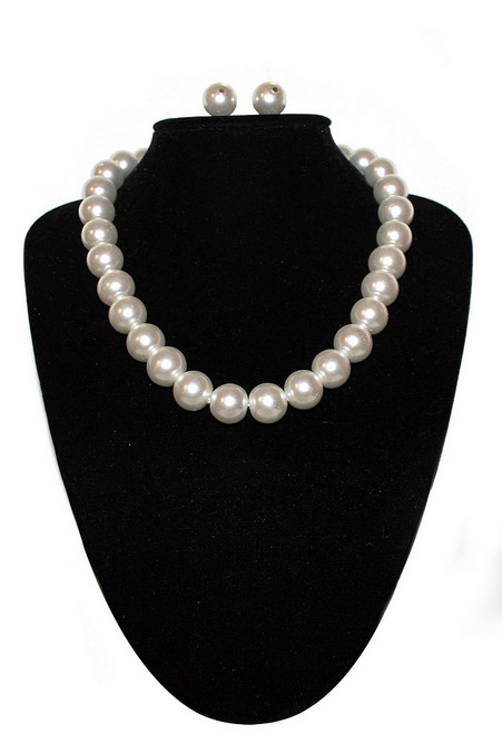Collier Larges Perles Blanches
