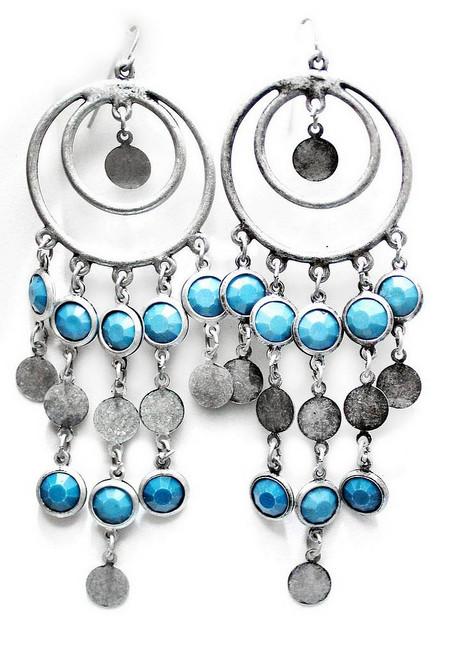 Boucles d'Oreilles Tribales Bleues et Argentées