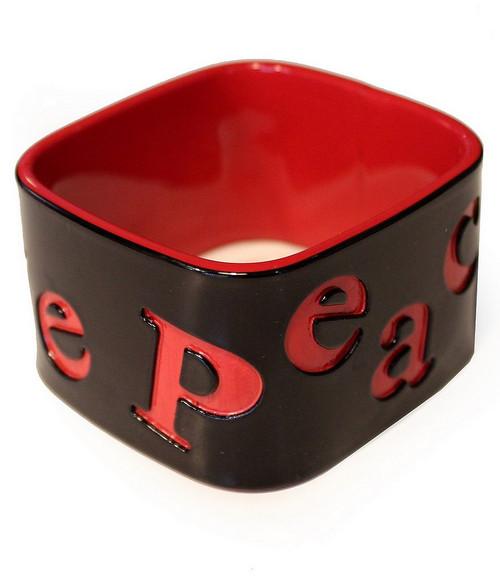 Bracelets Rigides Carrés Noirs et Rouges