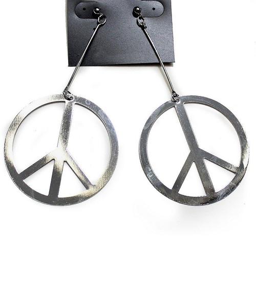 Boucles d%u2019Oreilles Signe de la paix Argentées