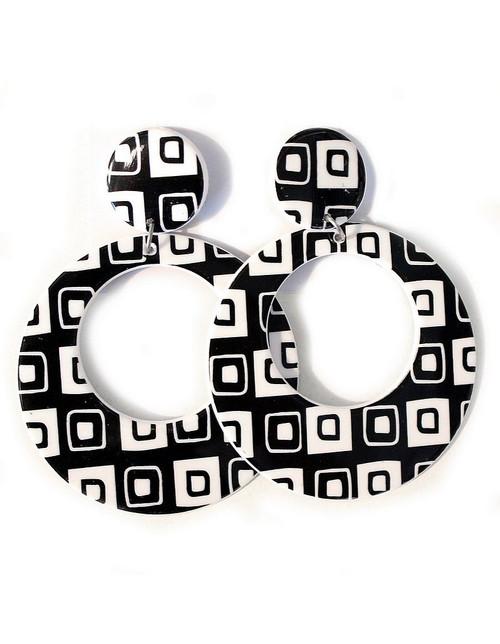 Boucles d%u2019Oreilles Géométriques Noires et Blanches 1