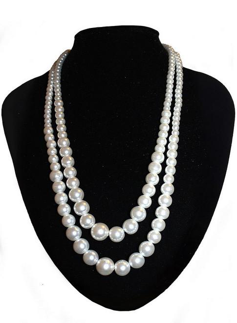 Collier Blanc à Deux Rangs Imitation Perles
