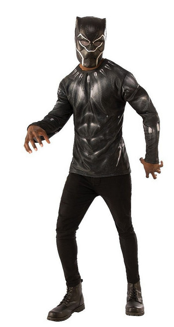 Haut et Masque Costume Black Panther Adulte