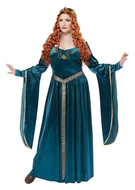 Costume Plus de Dame Guenièvre Bleu-vert