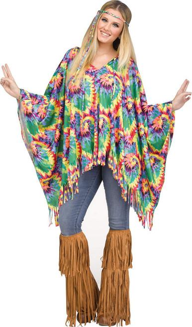 Costume Poncho Hippie Tie-Dye